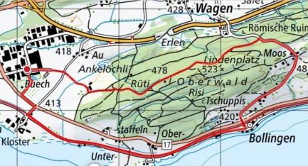 Rundwanderung:Jona/Buech-Oberwald-Bolligen-Buech, ca 7 km
